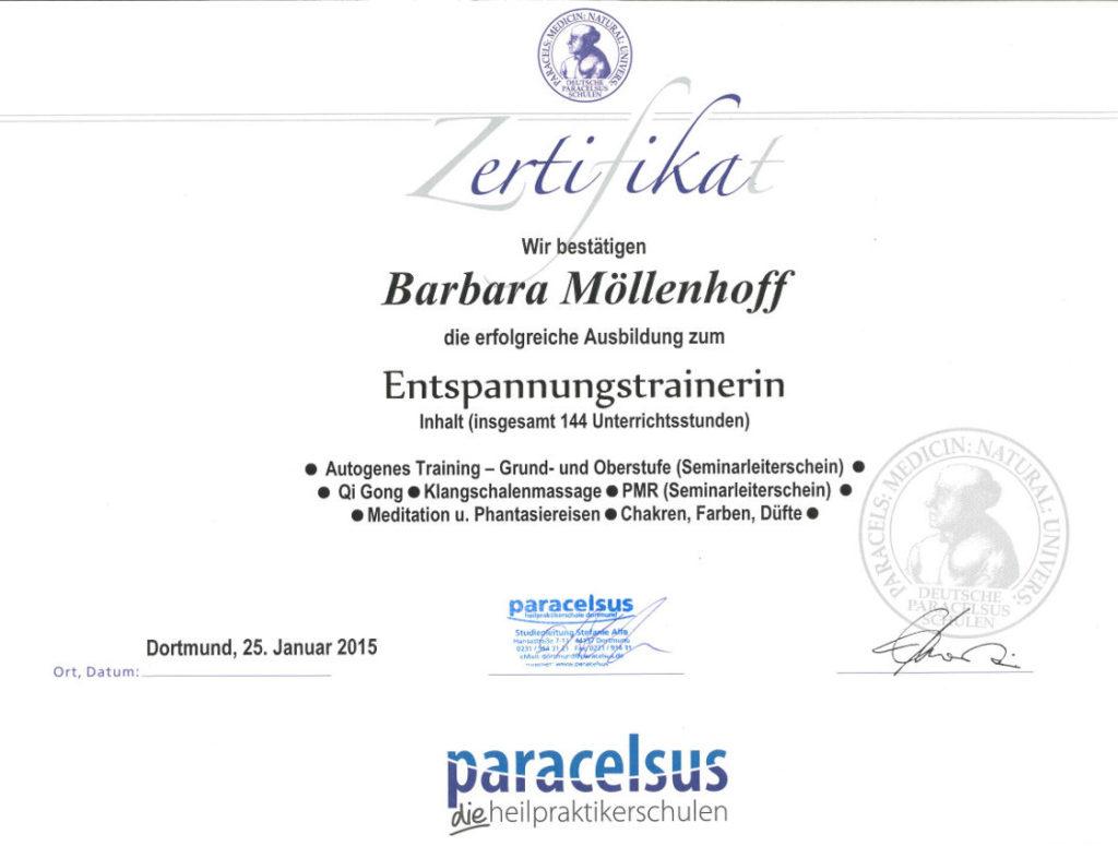 Barbara Möllenhoff - Paracelsus-zertifizierte Entspannungstrainerin