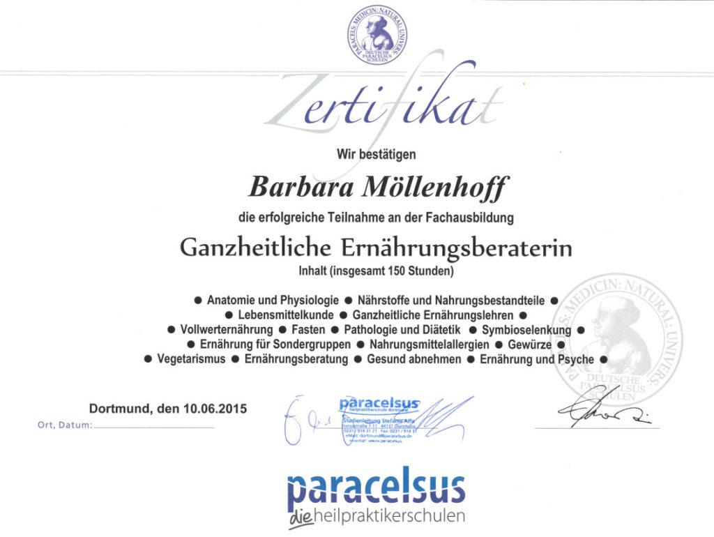 Barbara Möllenhoff - Paracelsus-zertifizierte ganzheitliche Ernährungsberaterin