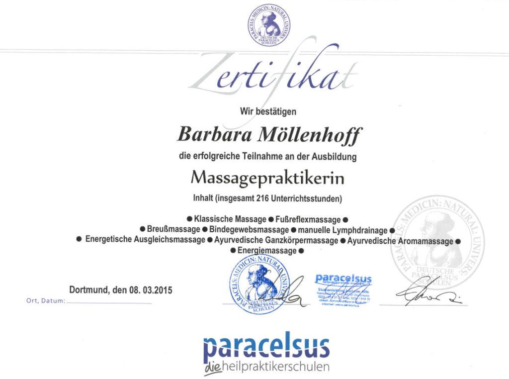 Barbara Möllenhoff - Paracelsus-zertifizierte Massagepraktikerin